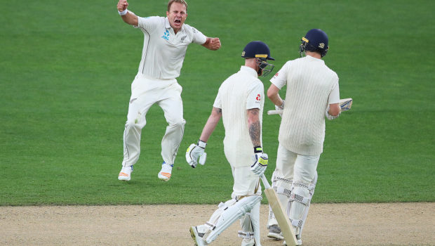 Neil Wagner of the Black Caps celebrates after claiming the wicket of Ben Stokes