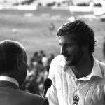 Ian Botham is interviewed by Peter West of the BBC