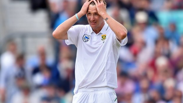 South Africa's Chris Morris reacts as the ball goes to the boundary