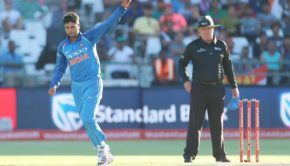 Kuldeep Yadav during the 3rd One Day International match between South Africa and India