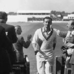 Colin Cowdrey walked out to bat with an arm in plaster