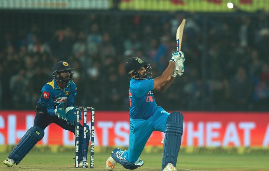 Rohit Sharma plays a shot against Sri Lanka