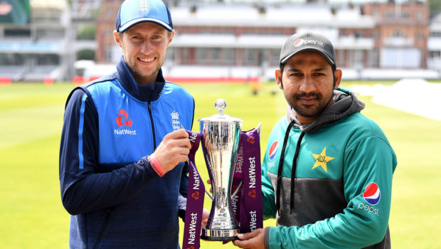 Joe Root and Sarfraz Khan with Natwest Trophy