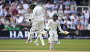 Imam-ul-Haq and Haris Sohail of Pakistan celebrate winning the 1st NatWest Test