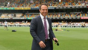 Commentator-and-former-Australian-crickter-Michael-Slater-rides-a-segway-prior-to-play-during-day