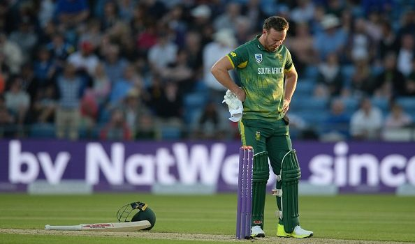 AB de Villiers of South Africa looks down during the 1st Royal London one-day international