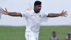 Sri Lankan bowler Lahiru Kumara celebrates after dismissing Indian batsman Ajinkya Rahane