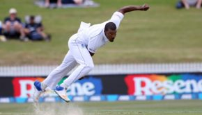 Shannon Gabriel of the West Indies bowls