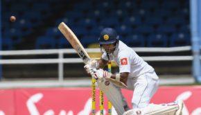 Dinesh Chandimal of Sri Lanka takes evasive action during