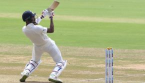 Hardik Pandya of India bats during day two of the test match between India and Afghanistan