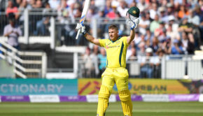 Aron Finch celebrating hundred