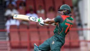 Shakib Al Hasan of Bangladesh hits 4 during the 1st ODI match between West Indies and Bangladesh