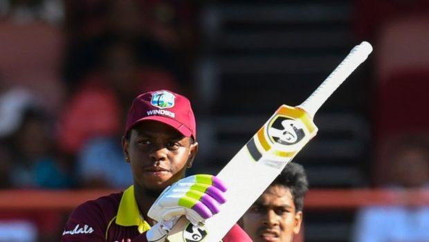 Shimron Hetmyer of West Indies celebrates his half century