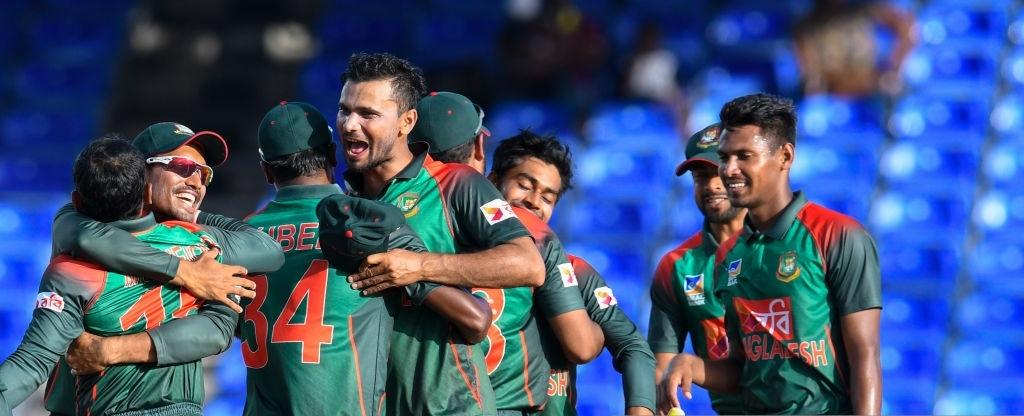 Mashrafe Mortaza of Bangladesh celebrates winning the 3rd and final ODI match between West Indies and Banglades