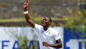 South Africa's Kagiso Rabada celebrates after dismissing Sri Lanka's batsman Roshen Silva