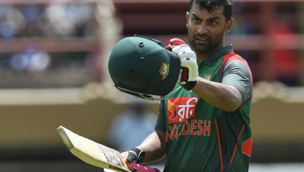 Tamim Iqbal of Bangladesh celebrates his century