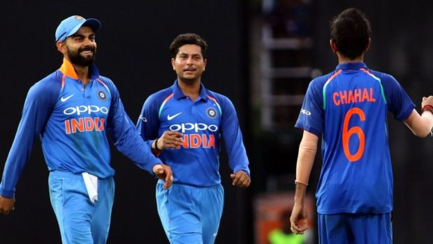 Virat Kohli, Kuldeep Yadav and Yuzvendra Chahal