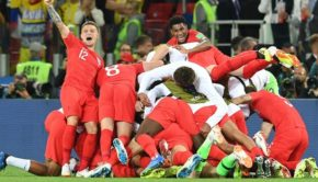 England football team celebrating after win