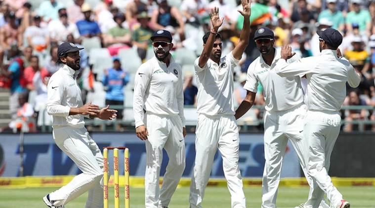 India bowler Bhuvneshwar Kumar celebrating with teammates