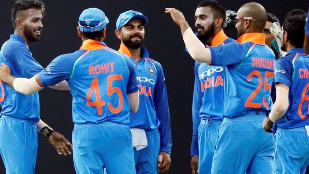 India ODI team celebrating wicket