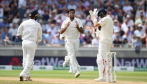 England batsman Joe Root reacts as India bowler Ravi Ashwin celebrates his wicket
