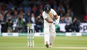 Murali Vijay of India is bowled by James Anderson of England