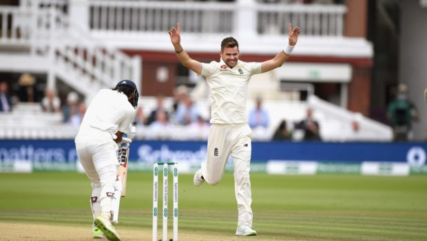 England bowler James Anderson celebrates the wicket of Murali Vijay