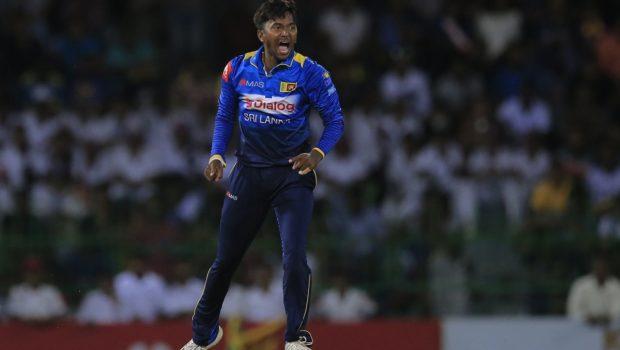 Sri Lanka's Akila Dananjaya celebrates the dismissal of South Africa's Heinrich Klaasen with Angelo Mathews