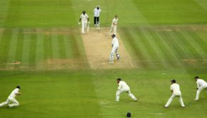 Ollie Pope of England catches the ball to dismiss Ishant Sharma of India