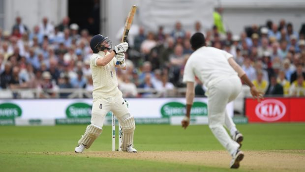 England batsman Ollie Pope hooks a short ball during day two of the 3rd Specsavers Test Match between England and India