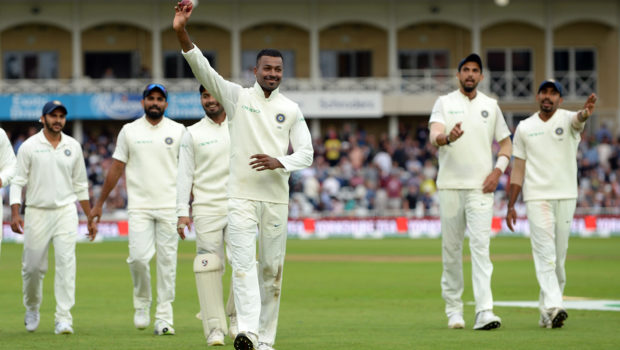 Hardik Pandya of India celebrates taking five wickets