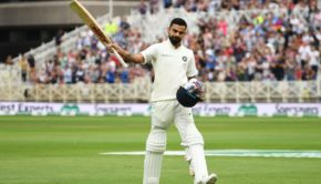 India's captain Virat Kohli salutes the crowd as he leaves the pitch after getting out lbw