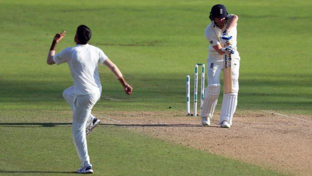 India's Jasprit Bumrah celebrates after clean bowling England's Jonny Bairstow