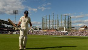 Alastair Cook of England leaves the field