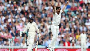 India's Jasprit Bumrah celebrates taking the wicket