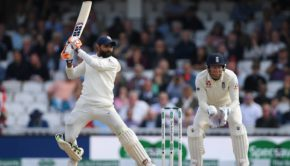 Ravindra Jadeja of India hits out as wicketkeeper Jonny Bairstow