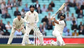 Rishabh Pant of India hits six runs
