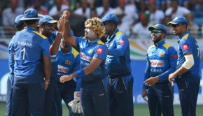 Sri Lankan cricketer Lasith Malinga celebrates with teammates