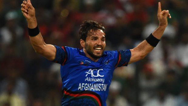 Afghan cricketer Gulbadin Naib celebrates