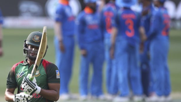 Bangladesh's Shakib Al Hasan reacts