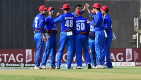 Afghanistan's cricketers celebrates after the dismissal of Bangladesh batsman Mohammed Mithun