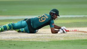 Pakistan batsman Fakhar Zaman looks on after playing a sho