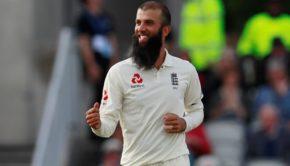 Moeen Ali celebrates taking the wicket