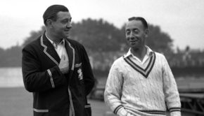 England captain Wally Hammond talks to Australia captain Lindsay Hassett