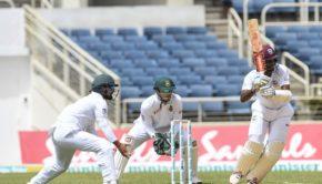Kraigg Brathwaite of West Indies hits a 4