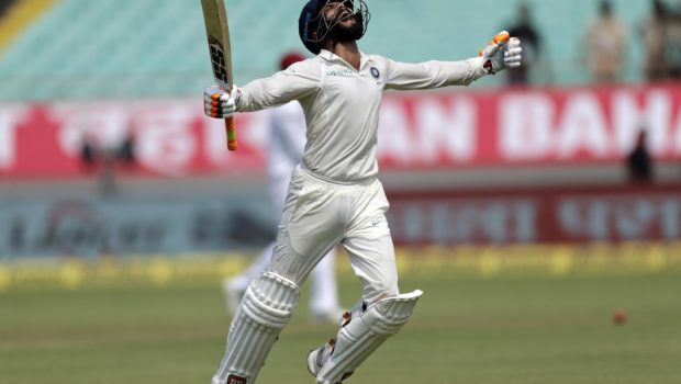 Indian cricketer Ravindra Jadeja celebrates his century