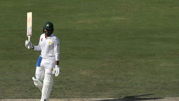 Haris Sohail of Pakistan celebrates after reaching his century