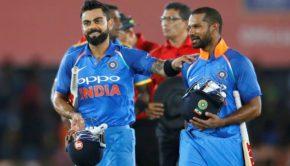 ndia's captain Virat Kohli and Shikhar Dhawan celebrate after victory