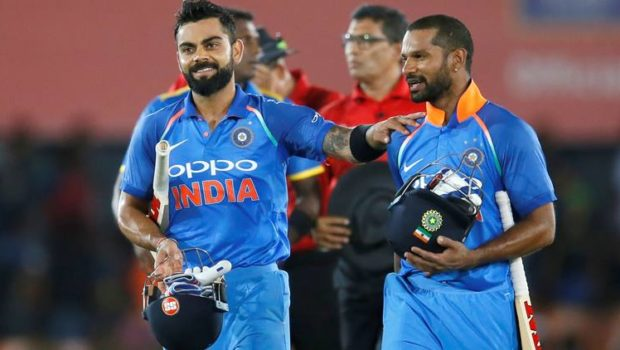 ndia's captain Virat Kohli and Shikhar Dhawan celebrate after victory