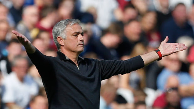 Manchester United's Portuguese manager Jose Mourinho gestures